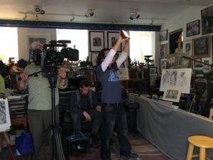 Filming inside Will Fleishell's home