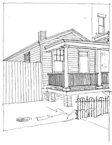 Judith Capen's sketch of the Shotgun House