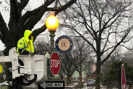 Installation of Emerald St. Historic District signs